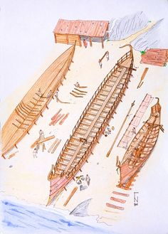 Polyremes of the Geometric period, these oared warships that are first depicted in the 8th Century BCE.