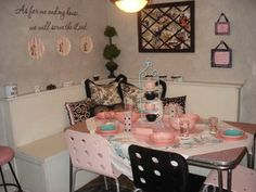 Vintage pink & black table set with pink melmac from the 50's