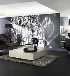 Feature wall Laminex Fusion Customart. Coffee table Laminex Hakata (012). Styling Wendy Bannister. Photography Earl Carter.