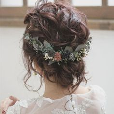 Boho Wedding Updo, a curly casual updo for the wedding. - Boho Wedding Updo, a curly casual updo for the wedding. The bridal hairstyle is adorned with delica - Bridal Hair Half Up, Wedding Hair Down, Wedding Hair Flowers, Wedding Hair And Makeup, Flowers In Hair, Wedding Dresses, Whimsical Wedding Hair, Curly Bridal Hair, Fall Flowers