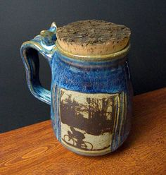 Stoneware Coffee Mug With Natural Bark Cork   by ApplewarePottery