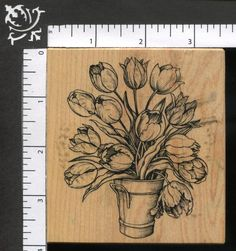 Large PSX Botanical Bouquet Spring Flowers Bucket of Tulips Rubber Stamp K-1695 #PSX