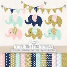 Baby elephant and banner clipart set in gold glitter, mint, pink and navy blue. You will receive 36 elephant images, 14 banners as well as 12 digital papers in classic matching patterns and colors - chevron, hearts, stripes, gingham, polka dots and quatrefoil + 4 solid backgrounds, including gold glitter texture.  These adorable elephant images will be perfect for nursery, baby shower and birthday and other celebration themed crafts as - invitations, greeting cards, blog and web design, wall…