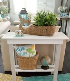Moby Whale Basket | Stylish Storage or Cachepot | Shop the Look: http://www.completely-coastal.com/2015/11/moby-whale-basket.html