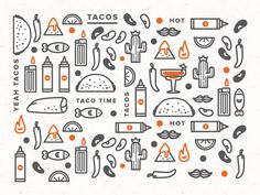Taco Time two 2 color vector icon pattern fun masculine bold