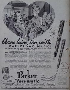 Parker Pen Co's wartime advertising. #WW2