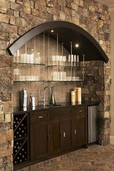 Wet Bar - I really like the glass shelves up top & the arch. I think that's what makes the whole thing. K