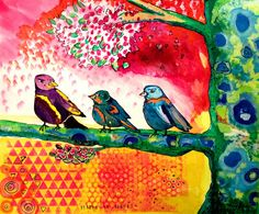 """""""Window To Spring."""" by ColorfulArtGirl 2013. painting/collage made with Golden Fluid Acrylic paints, watercolor and gouache, Speedball inks, stencils and Montana acrylic pen. With birds, tree, blossoms. pink. yellow. green. blue."""