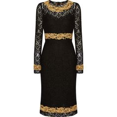 Dolce & Gabbana Embellished lace dress (101 650 ZAR) ❤ liked on Polyvore featuring dresses, black, lace trim slip, black lace slip, black slip dress, embellished dresses and slimming cocktail dresses