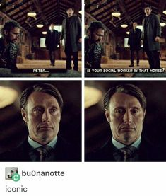 Hannibal is just like, I kill people and eat them and even I think this is fucked up 😂 Hannibal Funny, Hannibal Tv Series, Nbc Hannibal, Hannibal Lecter, Hannibal Quotes, Nbc Tv, Hugh Dancy, Superwholock, Really Funny