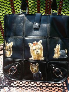 So cute! Handpainted yorkie handbag on ebay by misspaintsalot.