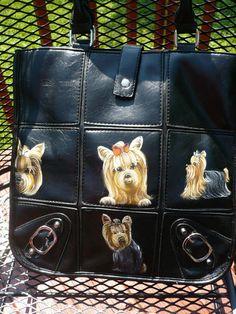 So cute! Handpainted yorkie handbag on ebay by misspaintsalot.