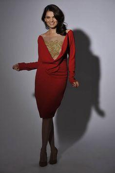 Rhea Costa naughty gold dress