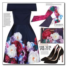 """""""In Bloom: Dark Florals"""" by shoaleh-nia ❤ liked on Polyvore featuring Ted Baker"""