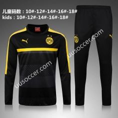 2016-17  Borussia Dortmund Round Collar Black Kids/Youth Soccer Tracksuit