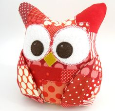 Plush Owl Pillow  patched owl red owl by aprilfoss on Etsy, $32.00