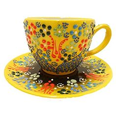 Amazon.com | Handmade Traditional Turkish Pottery Stoneware Tea Cups with Saucers (2, Yellow): Cup & Saucer Sets