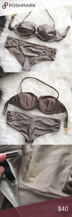 Victoria's Secret Push up Bikini Olive color Beautiful Push up Victoria's Secret bikini set. Olive color. Bra is 34B, button is a small size. Excellent condition. Victoria's Secret Swim Bikinis