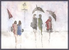 An evening in the rain - Watercolour Watercolor Painting Techniques, Watercolor Portraits, Abstract Watercolor, Painting & Drawing, Watercolor Paintings, Watercolours, Painting People, Figure Painting, Umbrella Art