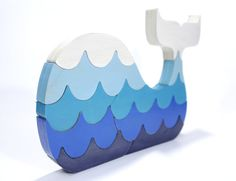 Blue Whale Puzzle with Waves in Blue by berkshirebowls on Etsy