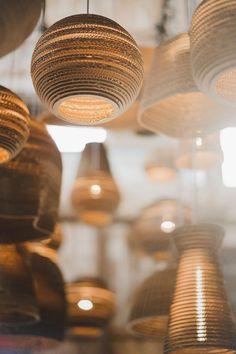 Graypants: Swoon-Worthy Recycled Cardboard Lighting — WILD HEARTH Graypants: Swoon-Worthy Recycled Cardboard Lighting — WILD HEARTH,design Scraplights: Swoon-Worthy Recycled Cardboard Lighting from Graypants Sustainable Furniture, Sustainable Design, Sustainable Living, Eco Recycle, Recycling, Nachhaltiges Design, Design Studio, Green Interior Design, Inspiration Design