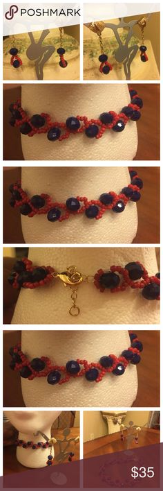 """""""Plush"""" handmade beaded choker & matching earrings """"Plush"""" is the right word for this handmade beaded choker and matching earrings. New and Never been used. See measurements in photos attached here. Silver hardware. No hold and no trade. Handmade Jewelry Necklaces"""