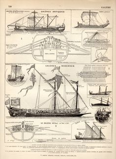 Galley Ship 1897 Antique Print Vintage Lithograph by Craftissimo, €12.00