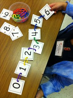 5.2.3 Numerals from 1 to 10: Make cards for the numerals from 1 to 10. Give the child some, or all, of the sequence and ask them to link them in order.