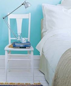 Repurpose Chairs as Bedside Tables | How to refresh a room using boxes, jars, and other household items.