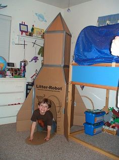 Rocket ship-There's a big box at the bottom, use the top flaps to make it taper in to another smaller box on top. Duct tape the edges together inside & out to reinforce it. Add some fins & a 4-sized pyramid at the top. Cut some holes for windows & a door.