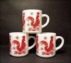 1950's Hazel-Atlas Red Rooster Mugs