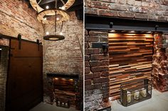 This hallway renovation was dressed up with this rustic chandelir and custom backdrop fireplace insert.