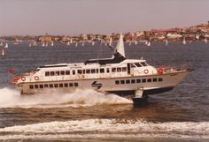 Sydney Harbour hydrofoil. Built in Italy, she could carry 240 passengers at 38 knots. She was in service between Circular Quay and Manly from 1984 to 1991. This was a faster way to get between Manly & Circular Quay, about 12 minutes compared to about 50 for the regular Ferry). But it was noisy, bumpy and a ticket cost about twice the price. Still, if you were in a hurry & it was peak hour (when driving between Manly & Circular Quay could take up to 1.5 hours), it couldn't be beaten! :)