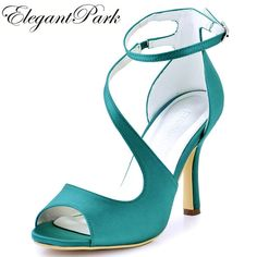 Woman High Heel Ankle Strap Sandals Teal Purple Peep Toe Bridesmaid Satin  Prom Strappy Pumps Bride 0e49c47bfffd