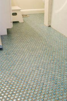 Elegant Really Quite Lucky: Penny Tile Bathroom Floor Part 10