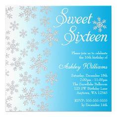Fancy Blue Snowflakes Winter Wonderland Sweet 16 Personalized Announcements