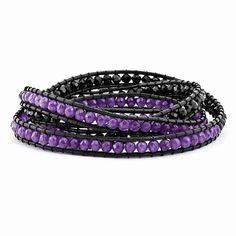 Black Crystal And Purple Quartz Bead And Leather Multi-Wrap Bracelet