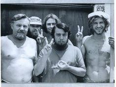 Harrison Ford (far right) when he was a carpenter building Sergio Mendes' recording studio. Taken in 1970.