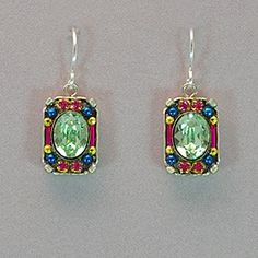 "Firefly Petite Crystal Earrings - Chrysolite. These intricately embellished mosaic earrings are comprised of Austrian Swarovski crystals, Japanese and Czech glass beads. Sterling silver ear wires. Measures 1"" long, 3/8"" wide."