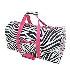 Zebra and Hot Pink Duffel Bag Large 22