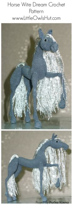 The patterns from LittleOwlsHut are so incredibly amazing. There are different designers but they all a very similar look, all are so well done. 043 Horse White Dream with wire frame - Amigurumi Crochet Pattern PDF file by…