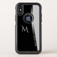Elegant black white silver name and monogram OtterBox commuter iPhone x case - monogram gifts unique design style monogrammed diy cyo customize