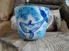 RĘCZNIE MALOWANY KUBEK - WIELORYB Mugs, Tableware, Art, Art Background, Dinnerware, Tumblers, Tablewares, Kunst, Mug