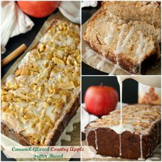 Caramel-Glazed Country Apple Fritter Bread recipe is a super moist, sweet, cake-like quick bread loaded with apples and swirled with cinnamon sugar. This is great for breakfast or dessert for the holidays, fall or any day!