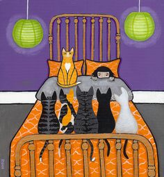 Cat Folk Art - Artist: Ryan Conners, Pittsburgh, PA, USA - Cat Alarm #2