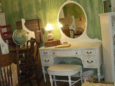 Girly Shabby Cottage Chic Vanity With Bench. $595.00, via Etsy.