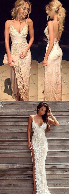 Hot Sexy Spaghetti Straps Split-Front Champagne Lace Long Prom Dress by MeetBeauty, $146.99 USD