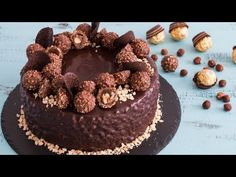 Ferrero Rocher Cake - video Ferrero Rocher Cake - consists of chocolaty brownie layers alternating with hazelnut meringue layers filled with nutella frosting and chocolate ganache co. Torta Ferrero Rocher, Rocher Torte, Ferro Rocher Cake, Fererro Rocher, Hazelnut Meringue, Nutella Frosting, Cake Recipes, Dessert Recipes, Nutella Recipes