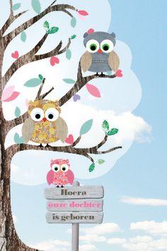 hipdesign staand uiltjes boom meisje #geboortekaartje #birth announcement