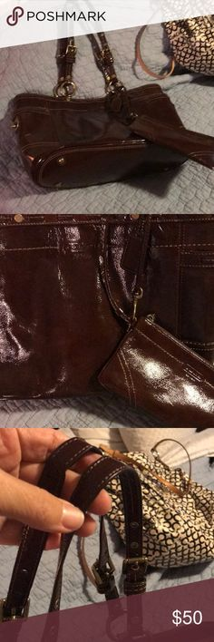 Coach blood red/brown with coin purse This show no wear! Super great color! Goes with everything! 16l 10h 7 w Coach Bags Satchels